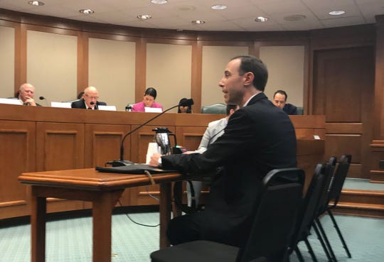 Texas Secretary of State David Whitley testifies at his confirmation hearing before the Senate Nominations Committee at the Texas Capitol, Feb. 7, 2019.