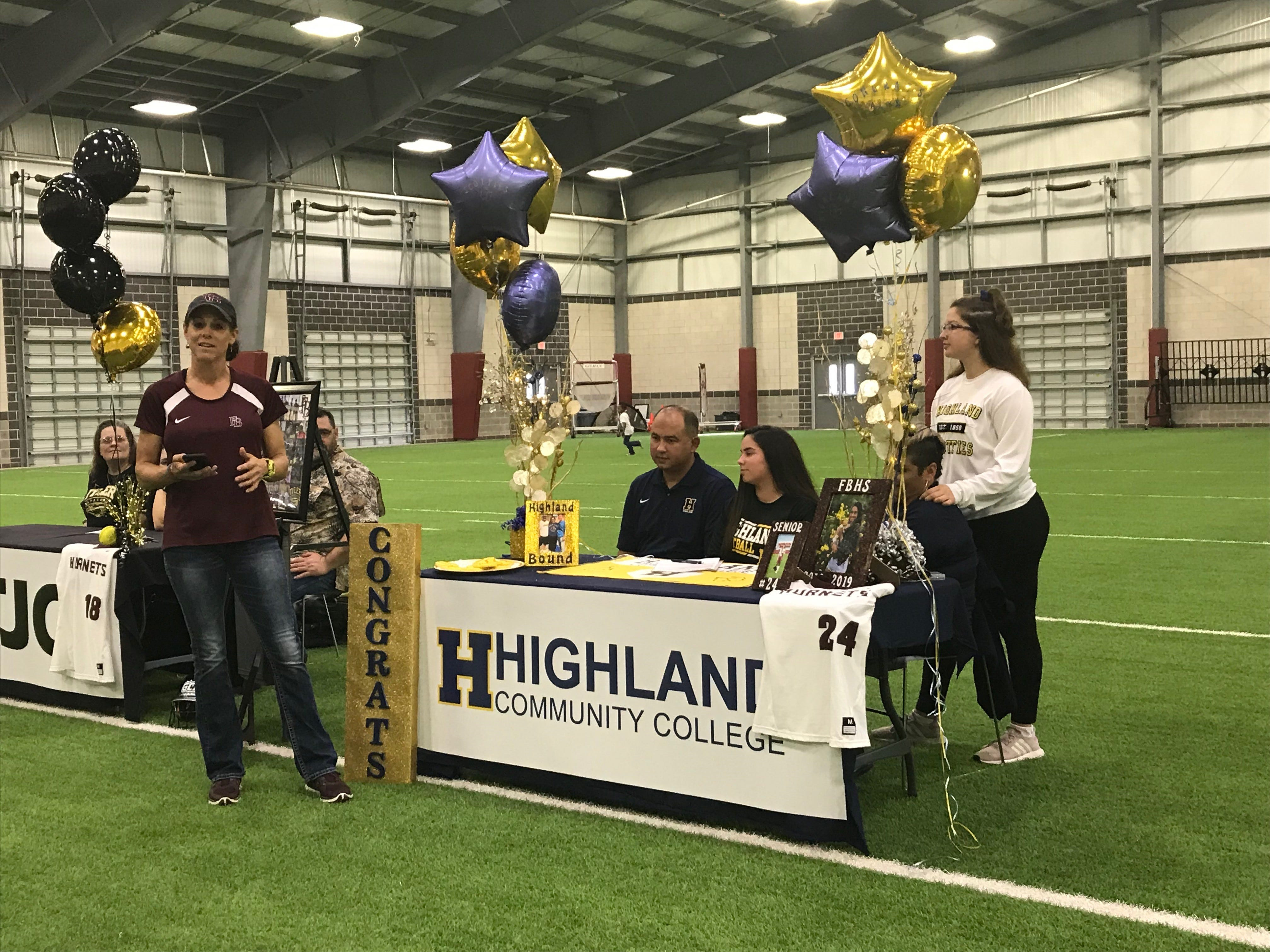 Alyxandria Salinas signed with Highland Community College on Wednesday, Feb. 6 at Flour Bluff's athletic facility.