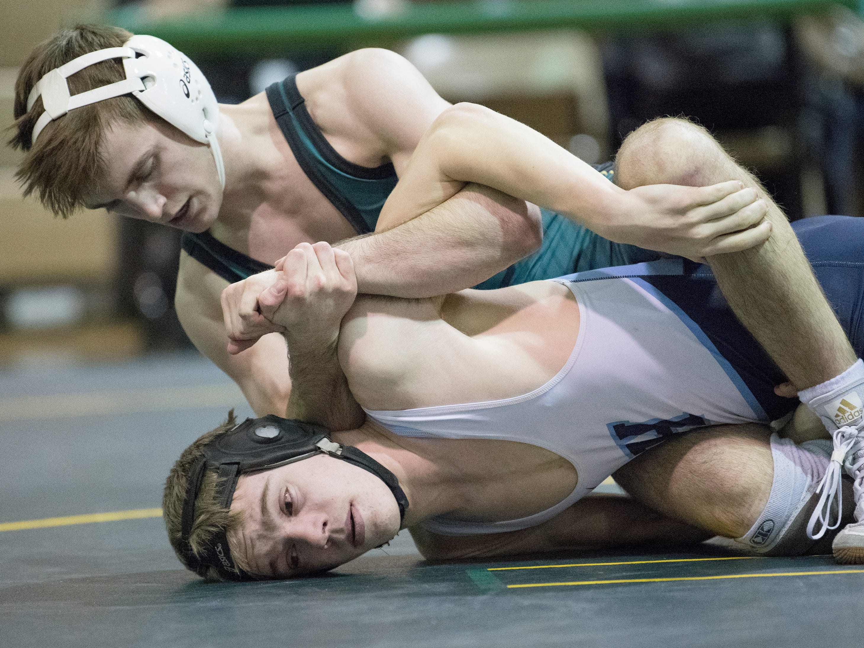 Clearview's Carmen Giumarello beat Highland's Joe Clark 13-3 in the 113 lb. bout of the South Jersey Group 4 semifinal round wrestling match held at Clearview High School on Wednesday, February 6, 2019.   Clearview defeated Highland, 40-27.