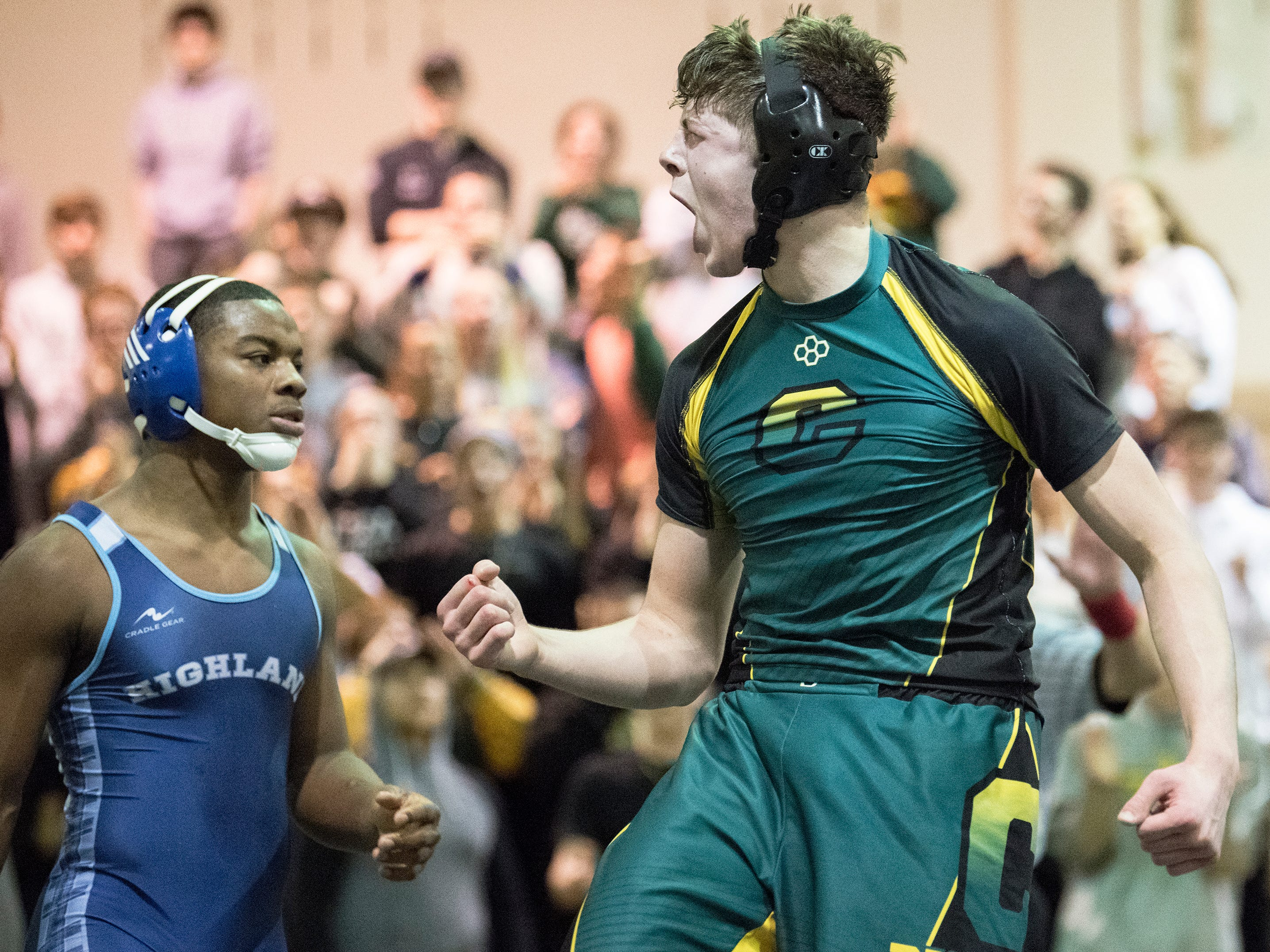 Clearview's Dylan Cydis celebrates after beating Highland's Izaiah Otero, 6-2, in the 182 lb. bout of the South Jersey Group 4 semifinal round wrestling match held at Clearview High School on Wednesday, February 6, 2019.   Clearview defeated Highland, 40-27.