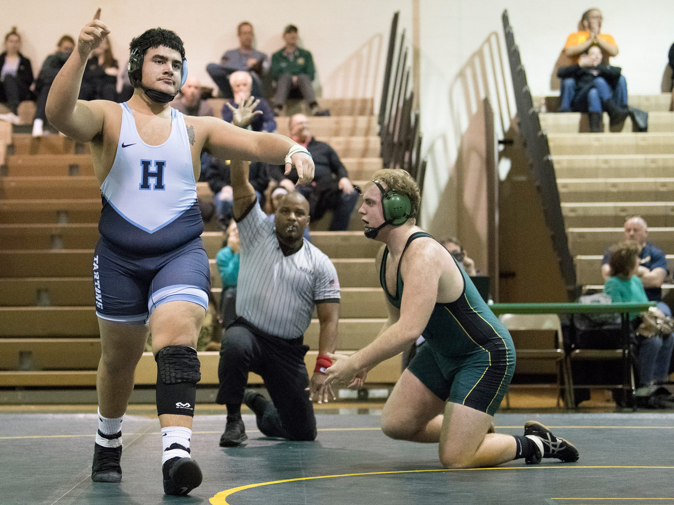 Highland's Jose Ortiz pinned Clearview's Aidan Romano to win the 220 lb. bout of the South Jersey Group 4 semifinal round wrestling match held at Clearview High School on Wednesday, February 6, 2019.   Clearview defeated Highland, 40-27.