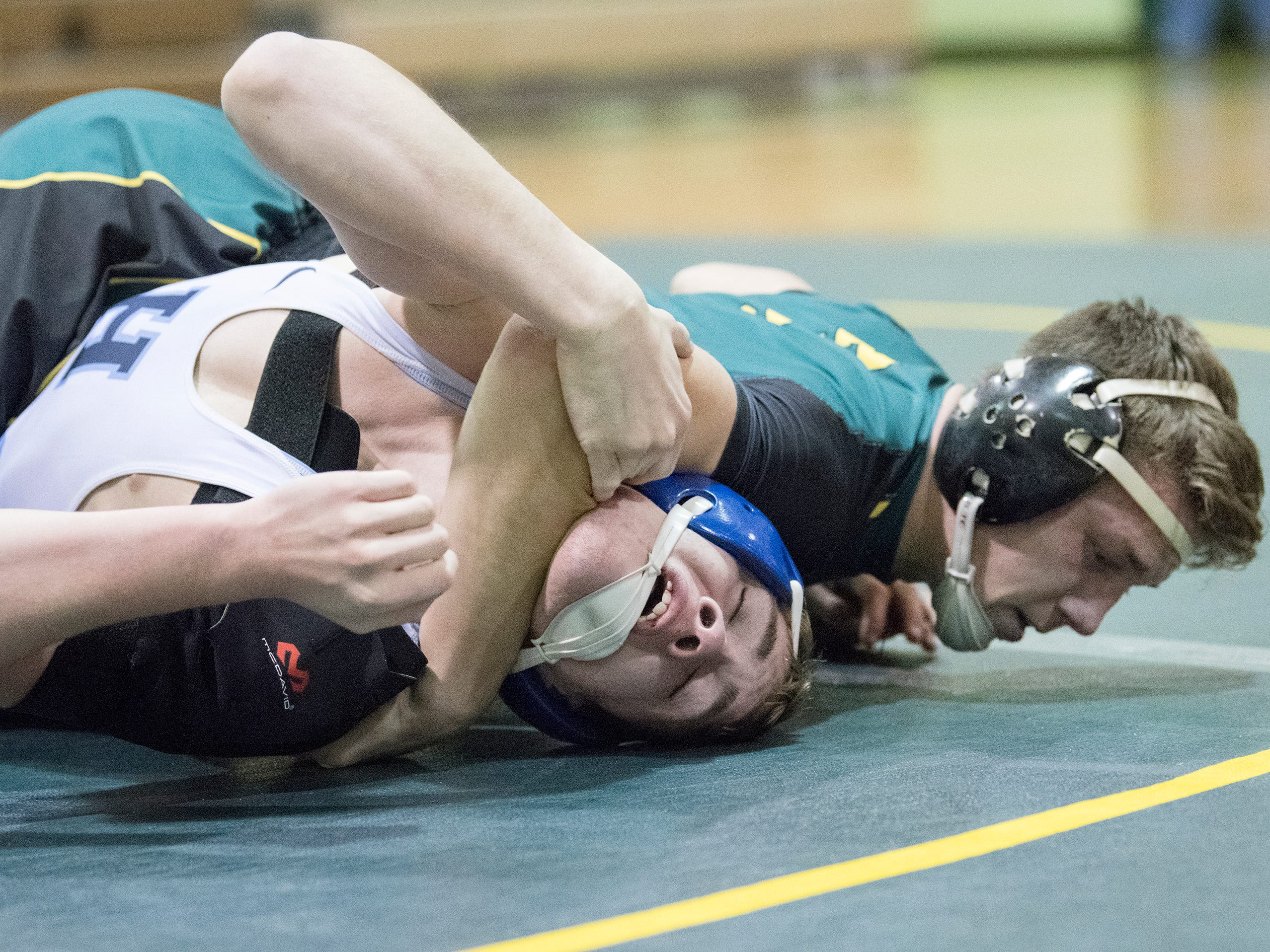 Clearview's David McCullough pinned Highland's Brett Buckingham to win the 160 lb. bout of the South Jersey Group 4 semifinal round wrestling match held at Clearview High School on Wednesday, February 6, 2019.   Clearview defeated Highland, 40-27.