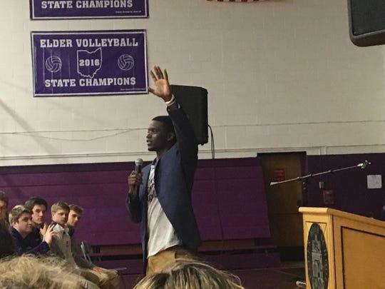 Chris Singleton speaks at Elder High School.
