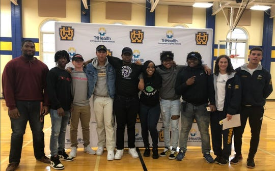 Walnut Hills had its Signing Day ceremony Wednesday, Feb. 6, at the school to honor athletes who will play sports in college. They include (not in order shown): Andre Allen, football,Notre Dame College; Jowon Briggs, football, University of Virginia; Caleb Diersing, football, Ohio Dominican University; Tyler Heinecke, football and baseball, Muskingum University; De'Ariss Hope, football, Taylor University; Alysea Jenkins, basketball,Roosevelt University; Ryan Mickens, football, Mount St Joseph; Caleb Streat, football, Tiffin University; Dominique Valentine, swimming, Augustana College; and Isaiah Valentine, swimming,Augustana College.