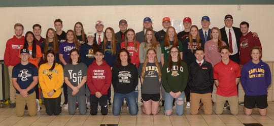 Mason High School athletes signed their letters of intent to play sports in college Feb. 6.