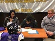 Marlon Gans of St. Bernard-Elmwood Place signed his commitment to play football at Cincinnati Christian University Feb. 6.