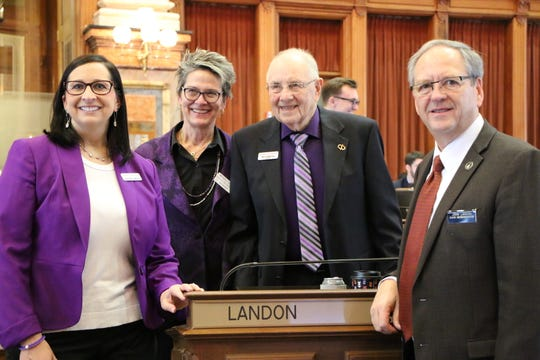 Rep. John Landon, R-Ankeny, welcomed local Alzheimer's Association advocates to the Iowa House of Representatives.  They were visiting the Capitol to talk with legislators about the Alzheimer's Association and their priorities for this session. From left are Becky Oh Montgomery, Danielle Fuglseng, Ken Gregersen, all of Ankeny, and Rep. John Landon.