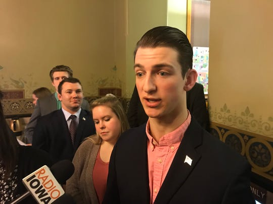 Jacob Minock, the president of the Iowa State College Republicans and a junior studying mechanical engineering, speaks in favor of a bill promoting free speech on college campuses at the Iowa Capitol on Thursday, Feb. 7, 2019.
