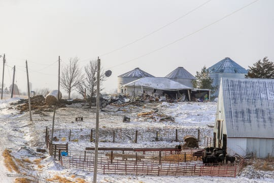 A massive explosion destroyed a farm house in Deep River Thursday, Feb. 7, 2019.