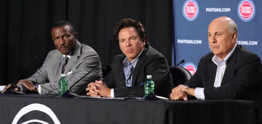 Pistons coach Dwane Casey, owner Tom Gores and senior advisor Ed Stefanski answer questions June 20, 2018, at Little Caesars Arena.
