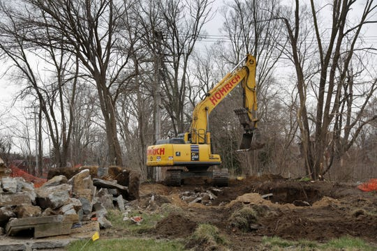 A home is demolished on Kilbourne and at Hayes Street in Detroit on Friday, April 27, 2018.