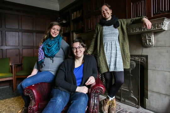 Art director Lucia Wylie-Eggert, editor Lydia Wylie-Kellermann and associate editor Kateri Boucher work for Geez, a Canadian magazine that focuses on religion, social justice and progressive politics, out of the Peace and Justice Hive at St. Peter's Episcopal Church in the Corktown neighborhood of Detroit, photographed on Thursday, Feb. 7, 2019.