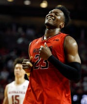 Feb 6, 2019; Lincoln, NE, USA; Maryland Terrapins forward Bruno Fernando (23) smiles as he leaves the court in the final moments of the game with the Nebraska Cornhuskers at Pinnacle Bank Arena. Mandatory Credit: Bruce Thorson-USA TODAY Sports