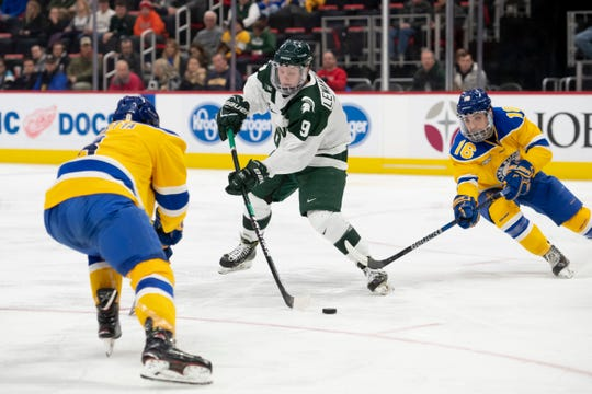 Forward Mitchell Lewandowski (9) is third on the Spartans in scoring with 31 points, forming a high-flying trio with Taro Hirose and Patrick Khodorenko.