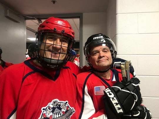 Rep. Andy Levin, D-Bloomfield Township, at left, and Rep. Mike Quigley, D-Illinois, prepare to play in the Congressional Hockey Challenge on Feb. 6, 2019.