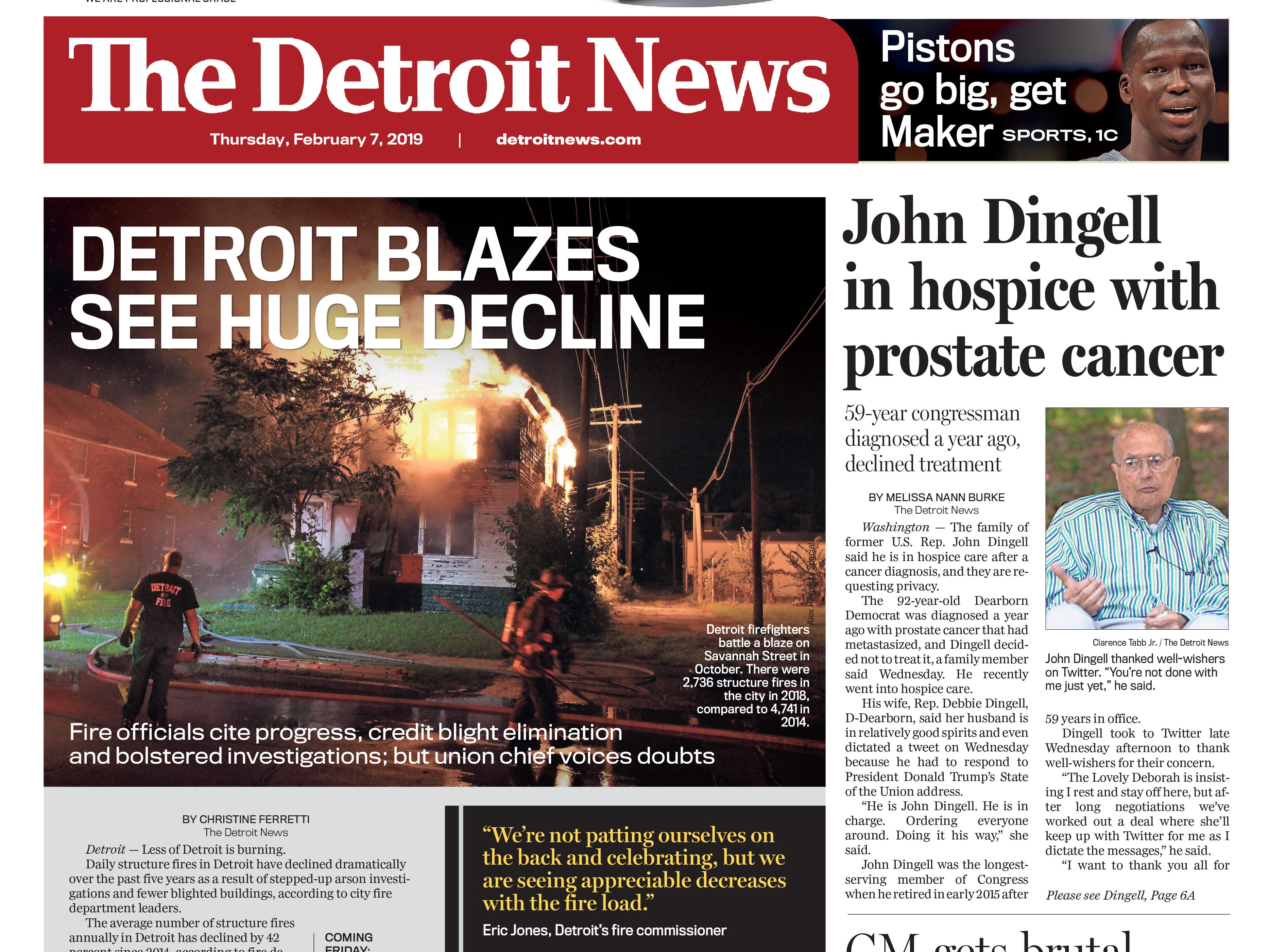 The front page of the Detroit News on Thursday, February 7, 2019.