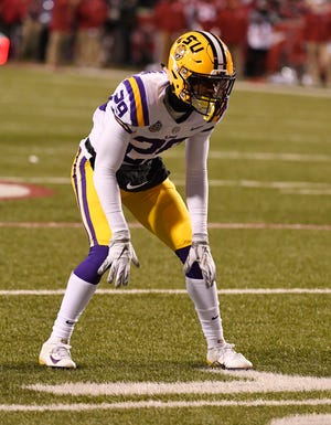 Cornerback Greedy Williams recorded eight interceptions and 19 pass defensed in 24 games over two seasons at LSU.