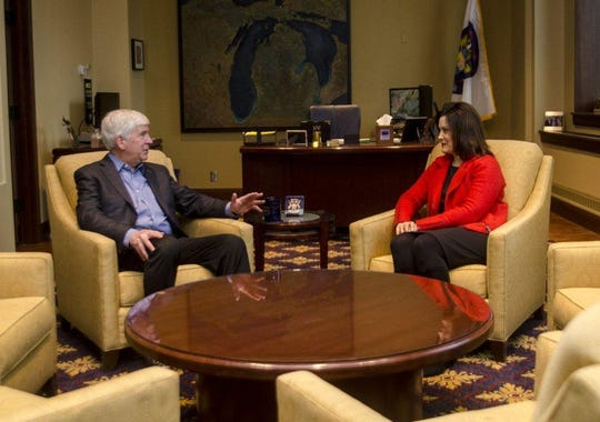 Governor Rick Snyder tweeted this photo of him and Governor-elect Gretchen Whitmer meeting at the State Capitol on Wednesday, Nov. 7.