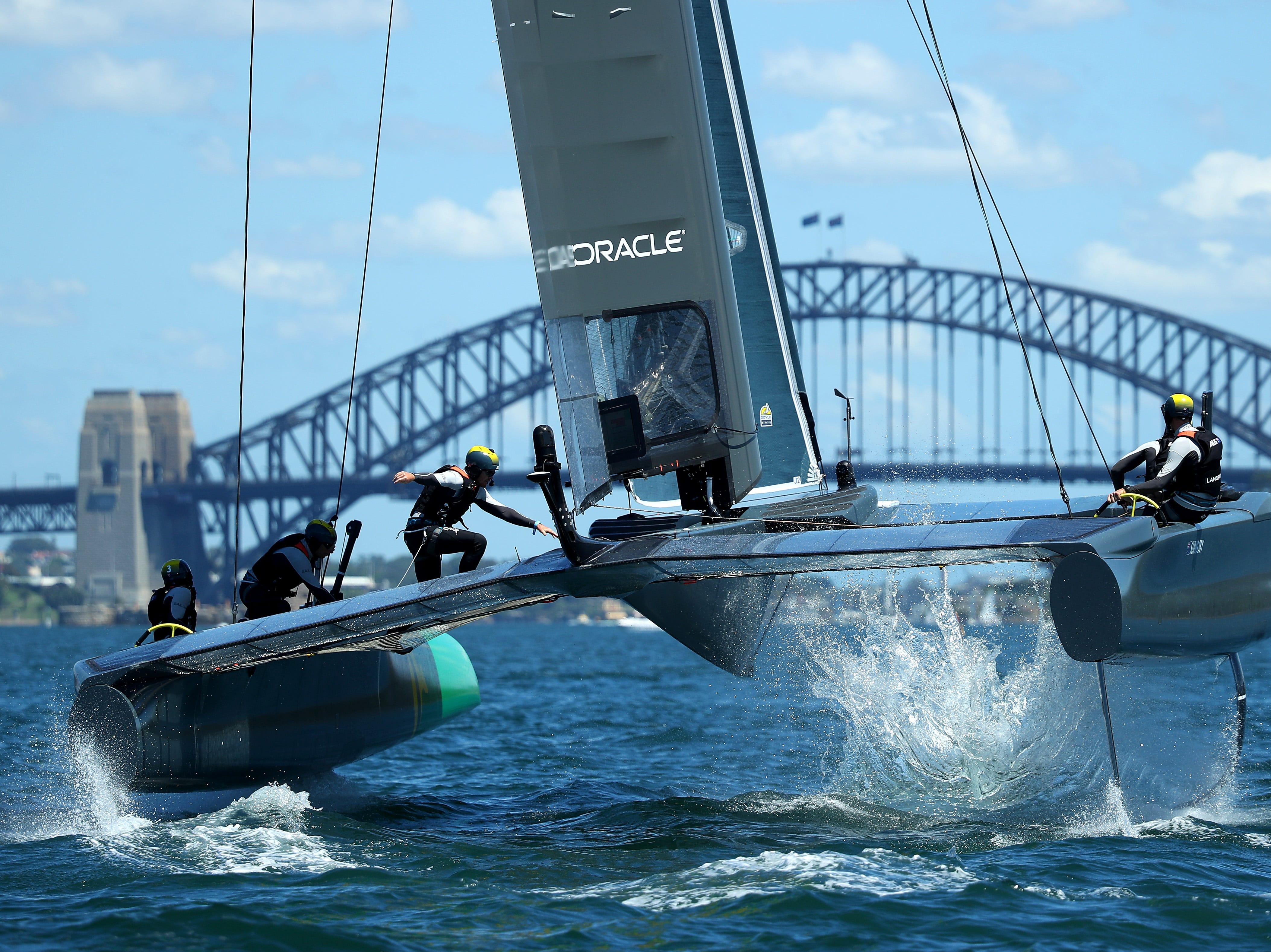 The Australian SailGP team races through Sydney Harbour during practice ahead of SailGP on Feb. 7, 2019 in Sydney, Australia.