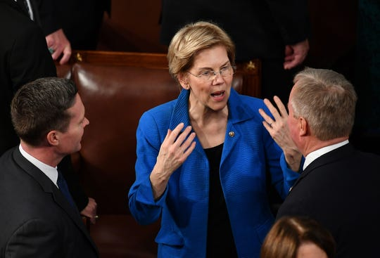 Senator Elizabeth Warren arrives for the State of the Union address at the US Capitol in Washington, D.C., on February 5, 2019.