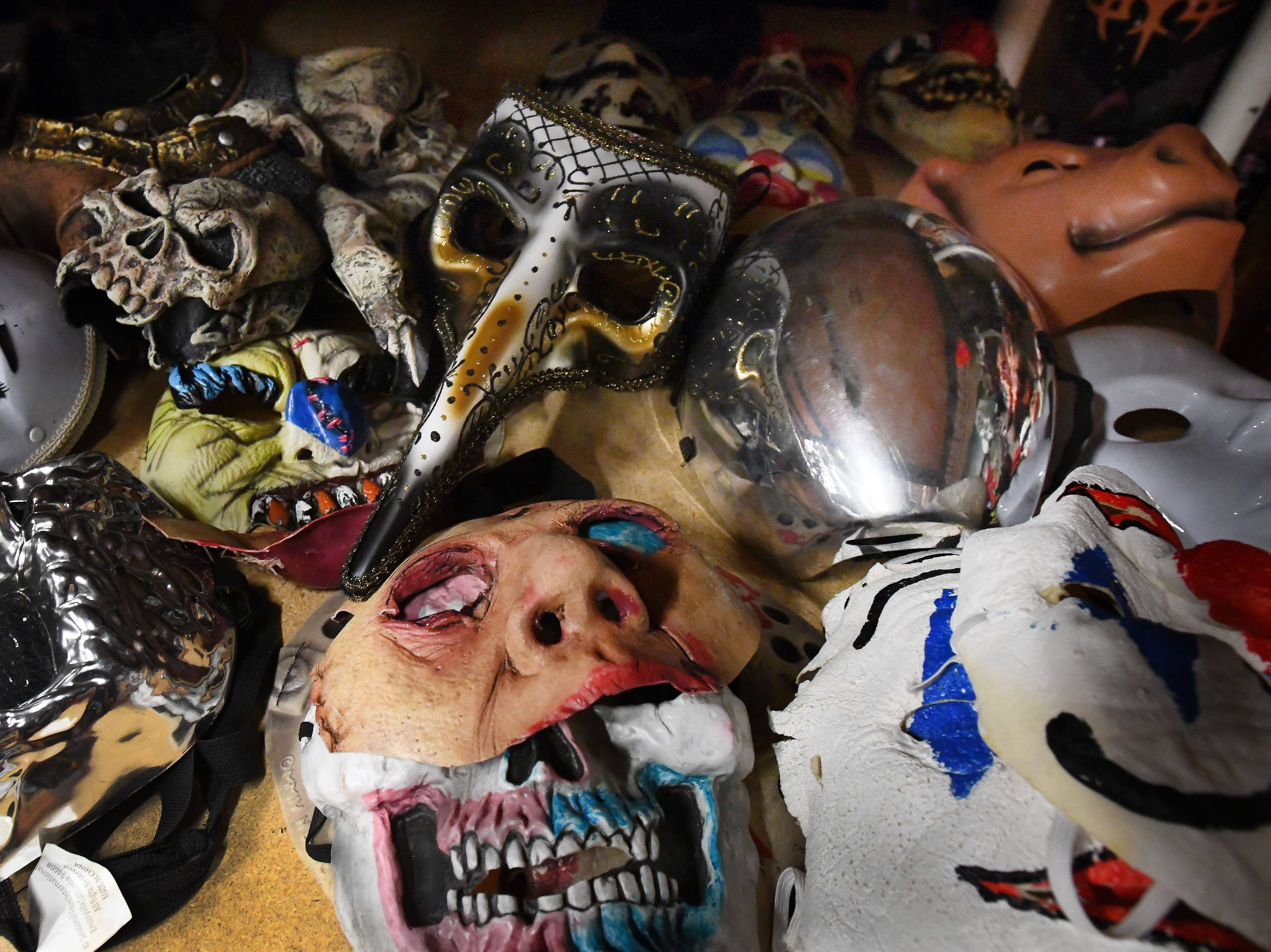 Violent J, aka Joseph Bruce of Insane Clown Posse, shows off costume storage where outfits and various paraphernalia is stored from their elaborate shows and tours.