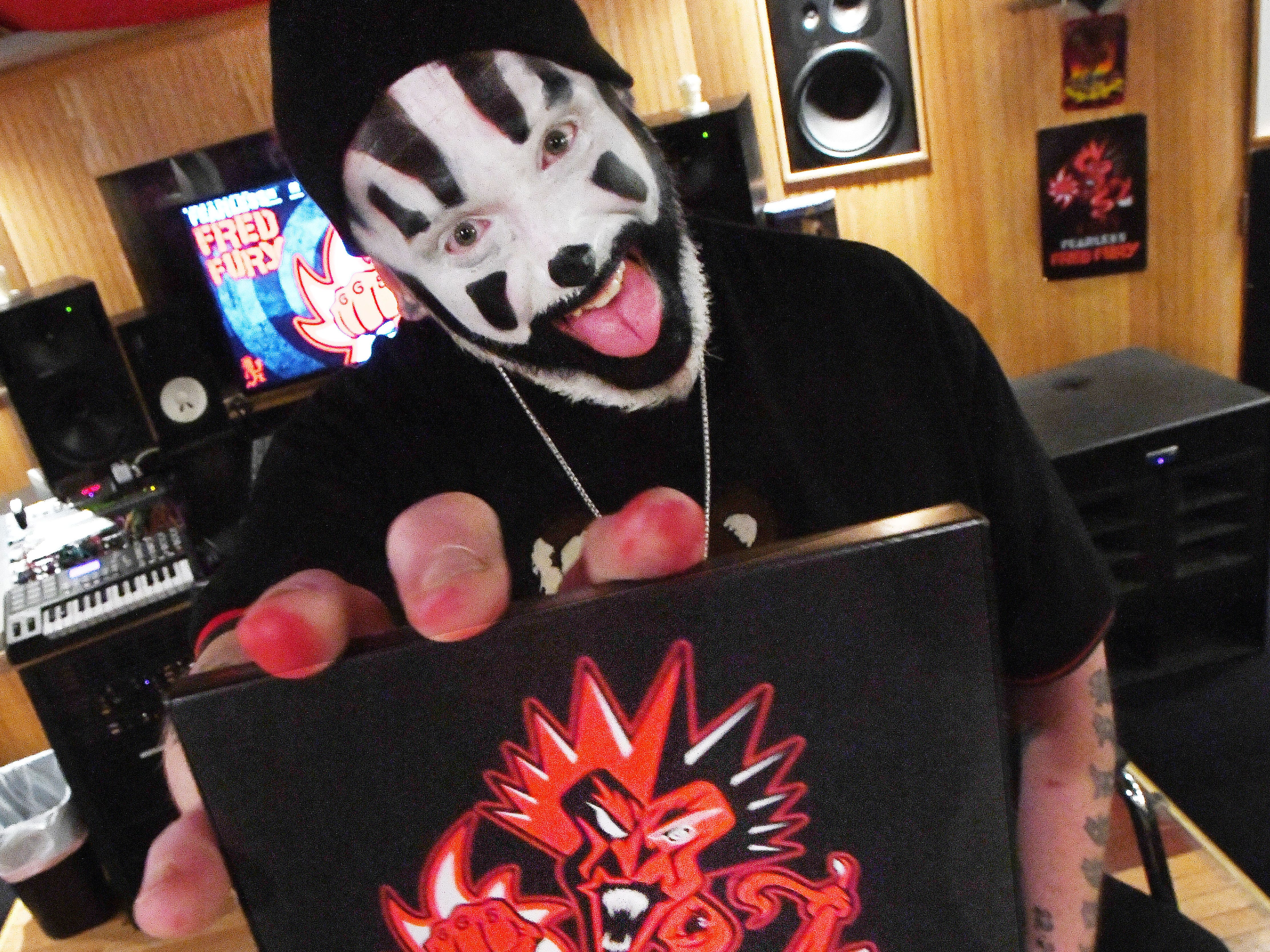 Violent J, aka Joseph Bruce of Insane Clown Posse, shows a copy of their upcoming new release, Fearless Fred Fury, in Farmington Hills, Michigan on Tuesday, Feb. 6, 2019.