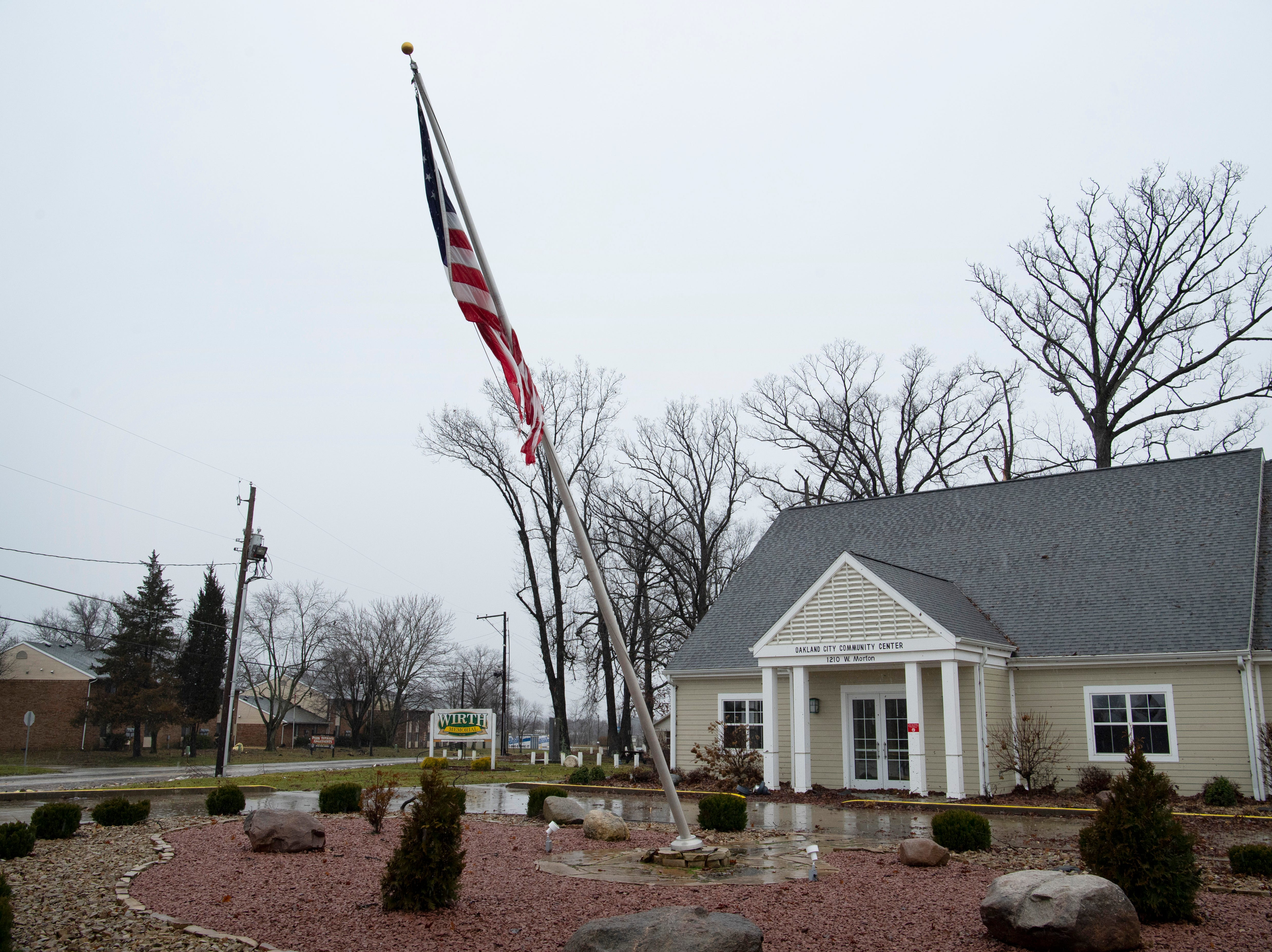 The Oakland City Community Center's flag pole was left askew after a storm hit the Gibson County town Thursday morning.