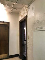 Interior damage to the YWCA Evansville building has been caused by the building's leaking roof.