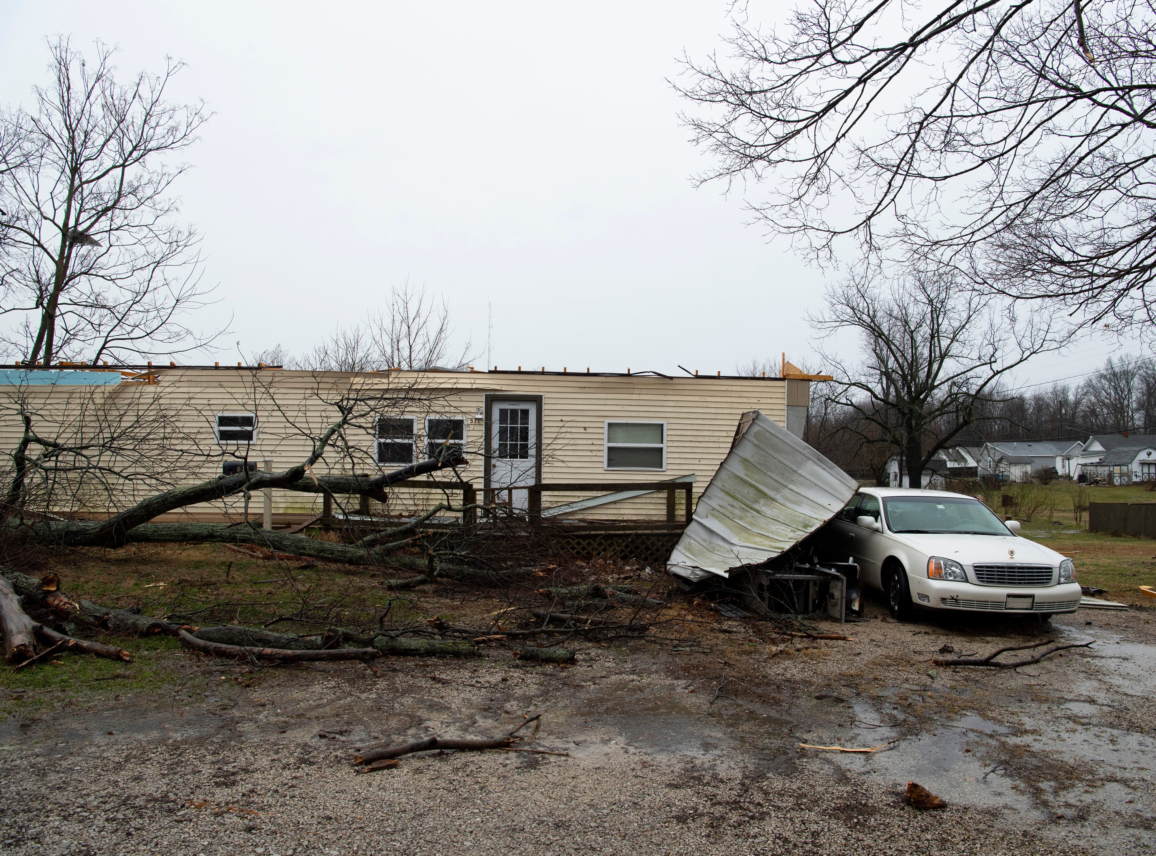 A mobile home in Oakland City, Ind., was hard hit after a storm hit the Gibson County town Thursday morning.