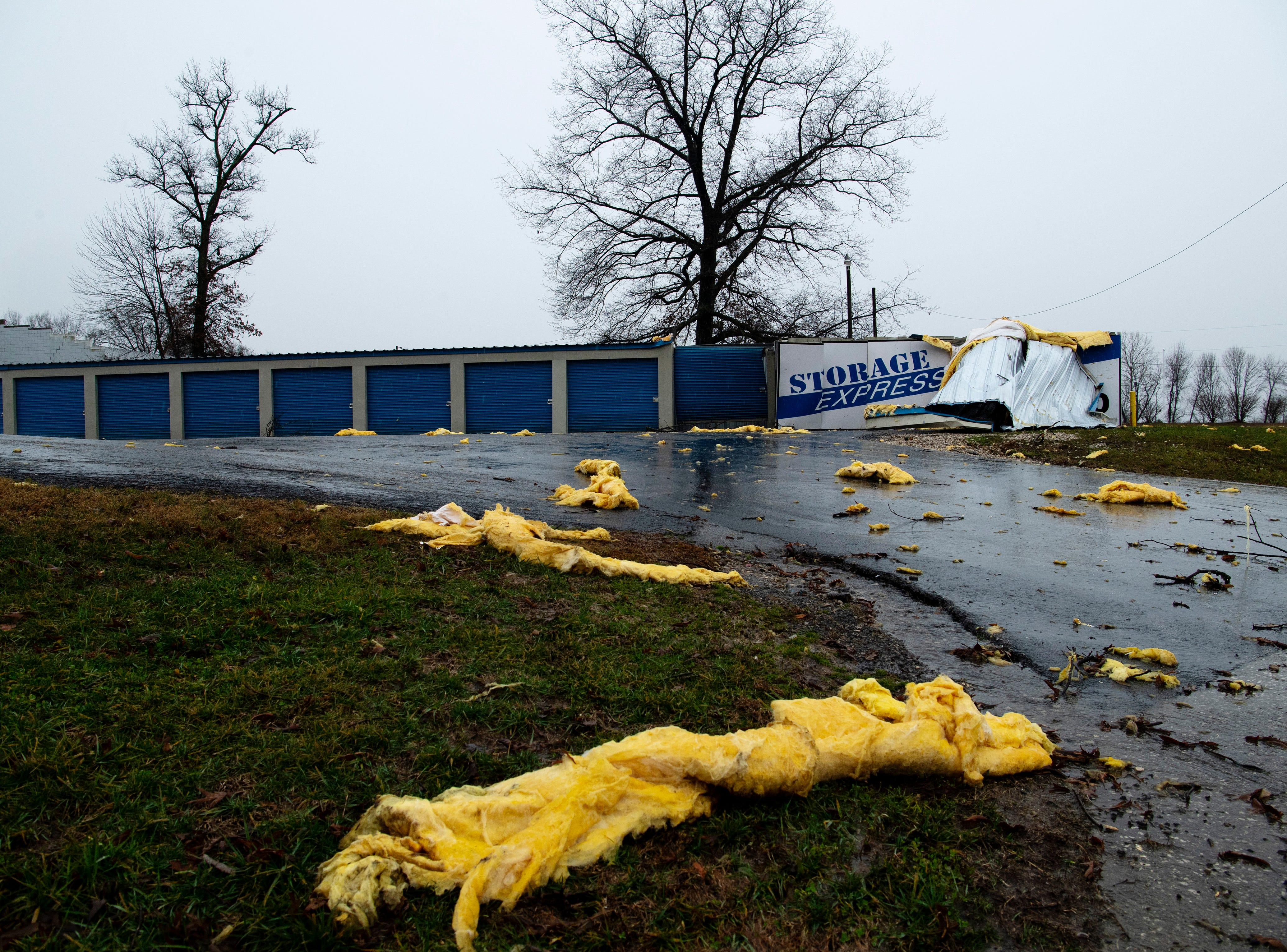Storage Express in Oakland City, Ind., was damaged after a storm hit the Gibson County town Thursday morning.