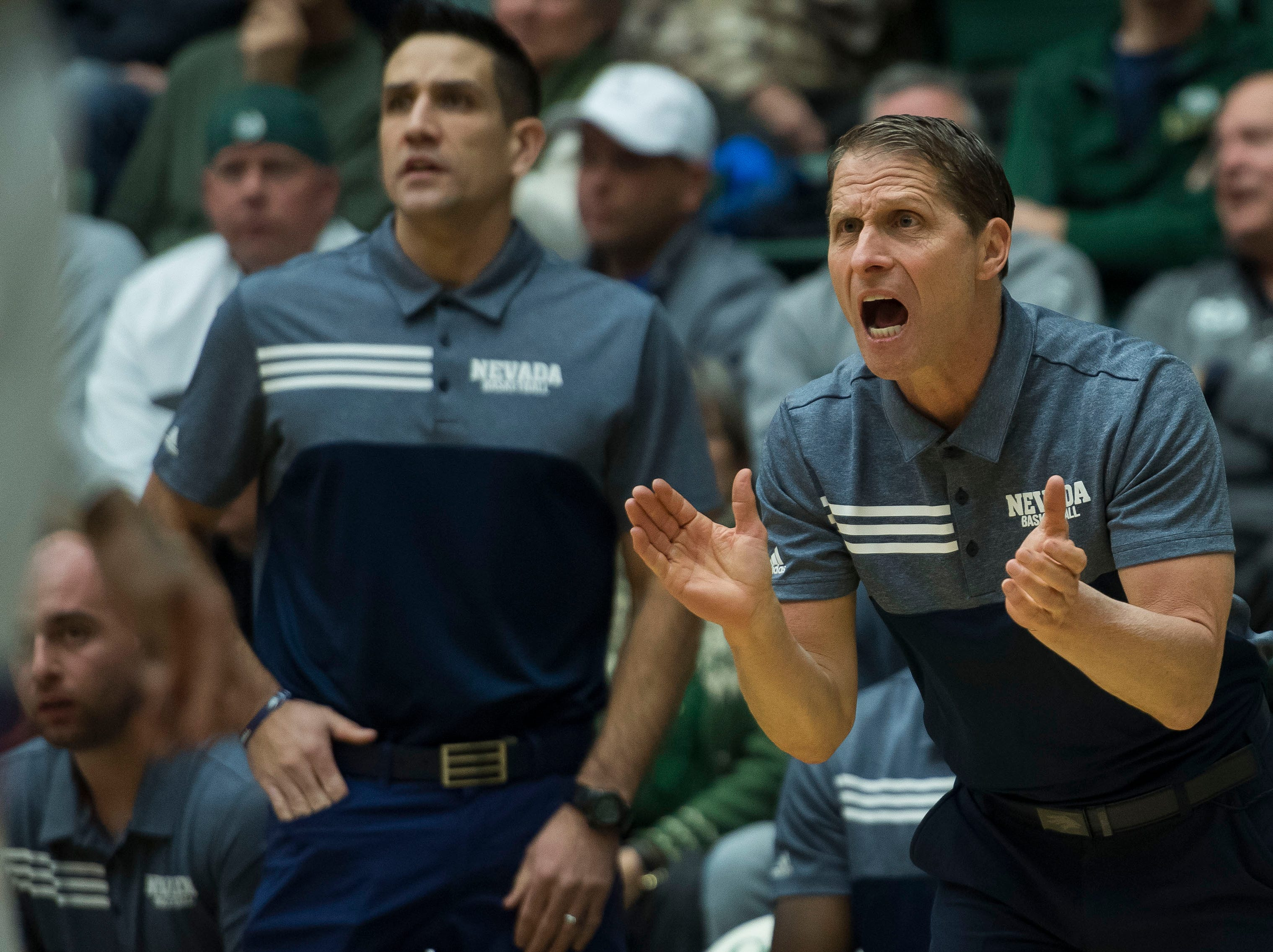 Nevada head coach Eric Musselman talks to his team during a game against Colorado State University on Wednesday, Feb. 6, 2019, at Moby Arena Fort Collins, Colo.
