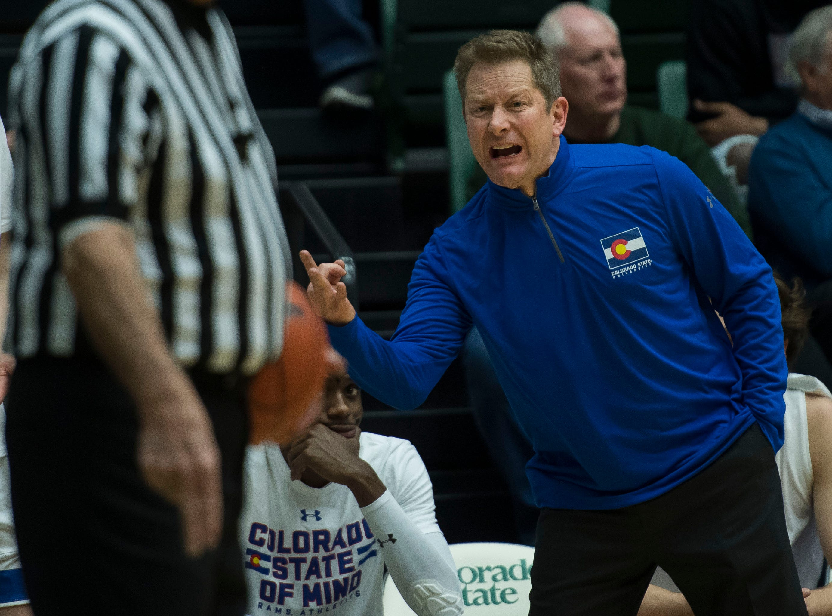 Colorado State University head coach Niko Medved talks to an official during a game against Nevada on Wednesday, Feb. 6, 2019, at Moby Arena Fort Collins, Colo.