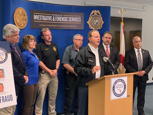 Chief Florida Financial Officer Jimmy Patronis announced  that ten people have been charged and four others remain at large as part of an alleged $42.7 million insurance fraud ring that worked out of several clinics in Fort Myers, Tampa, Lake Worth, Boca Raton and Miami.