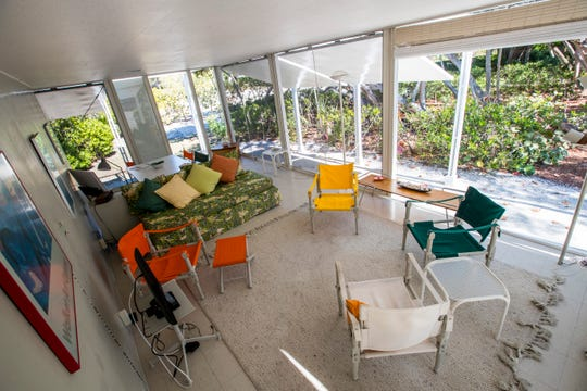 The living area of the guest home. The Walker guest home and main home on Sanibel.
