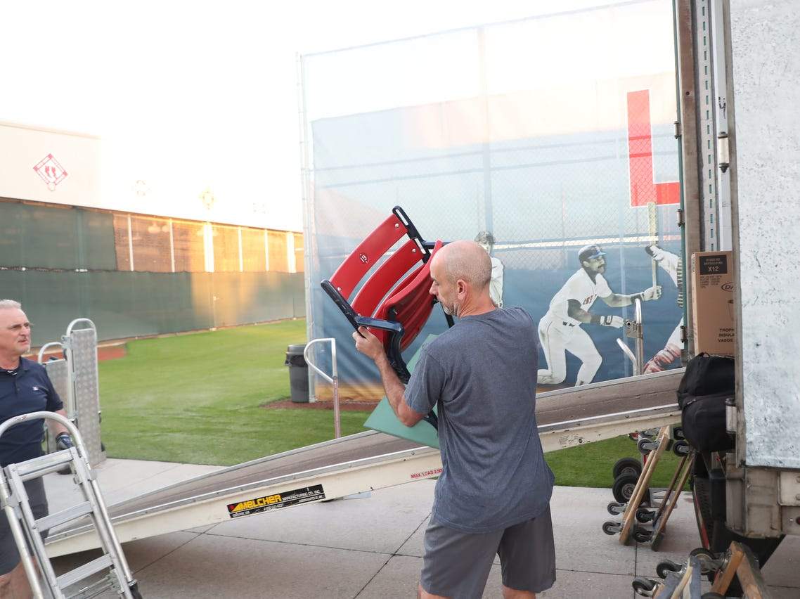 The equipment truck for the Boston Red Sox unloaded early Thursday 2/7/2019 in preparation for spring training. Items included a LEGO statue of David Ortiz, balls, bats, gum and other assorted items.