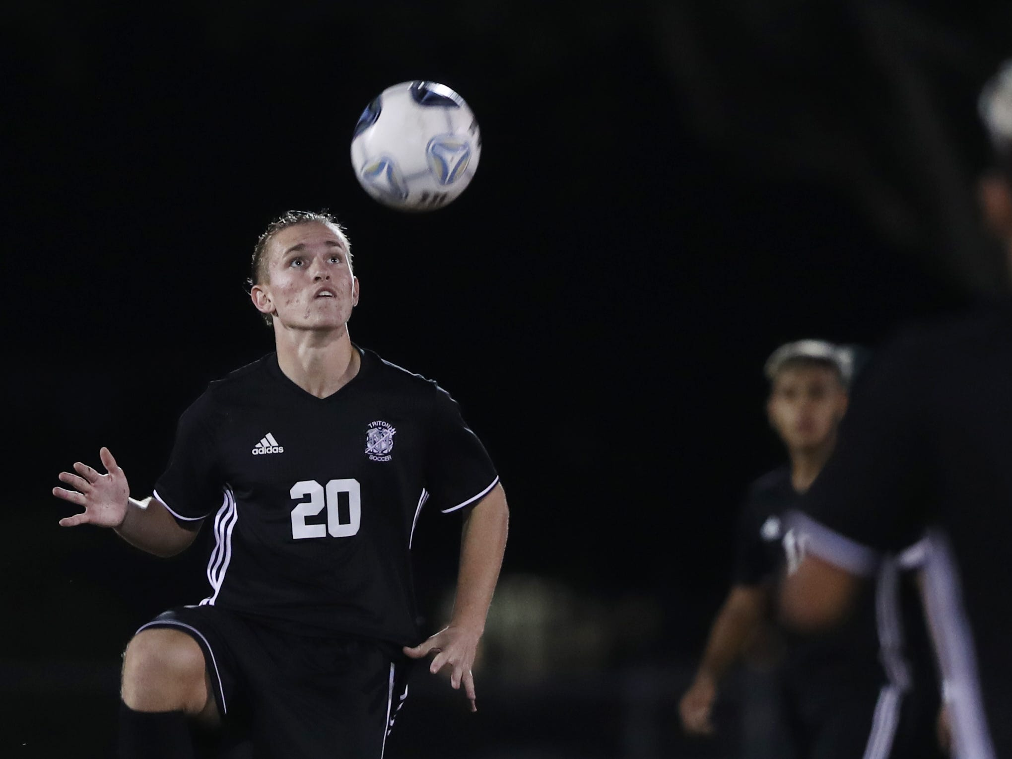 Mariner High School's Nikola Salopek tracks a pass against Immokalee on Wednesday in the Class 3A regional quarterfinal. Mariner beat Immokalee 2-0.