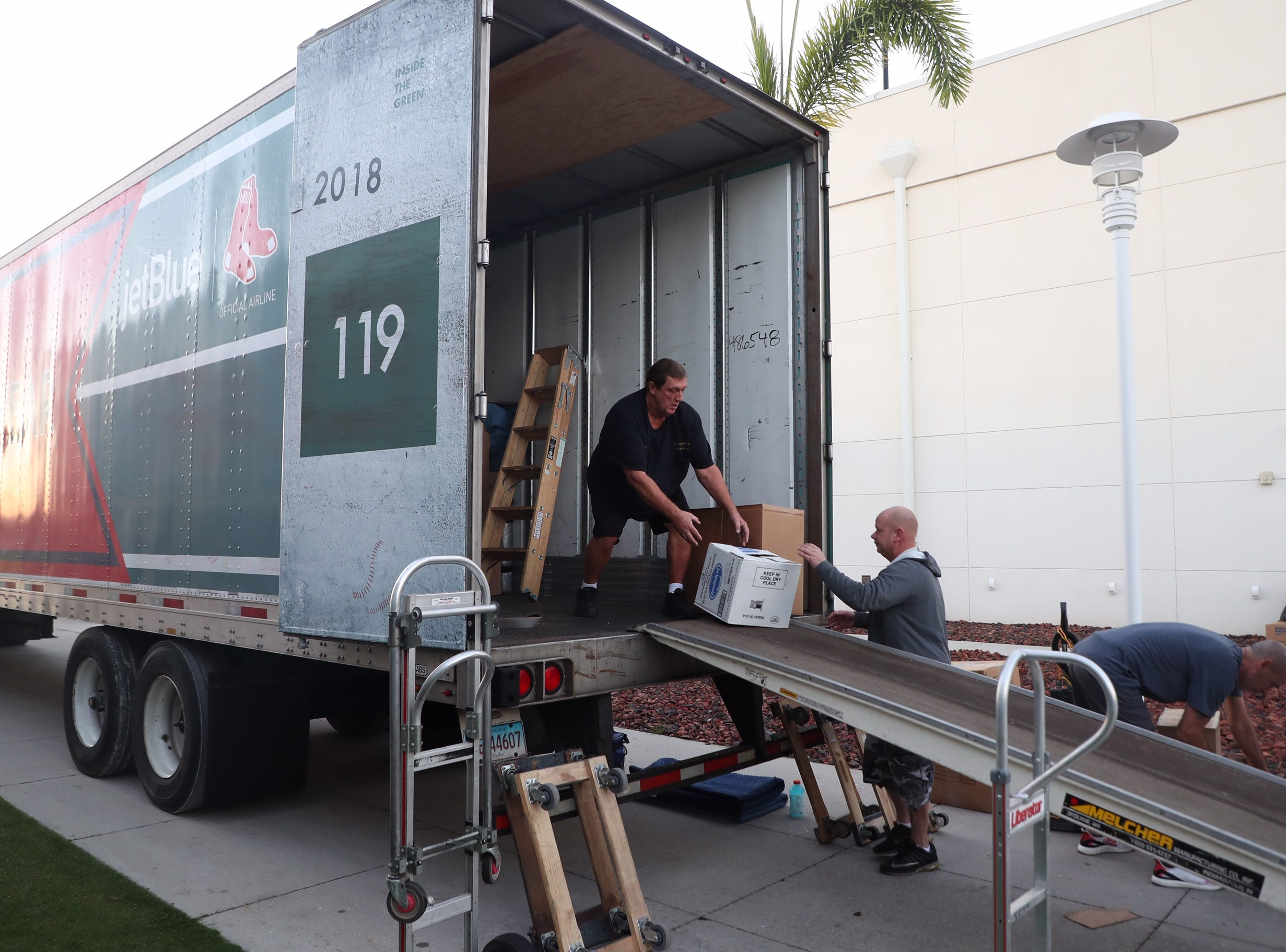 It's truck day at JetBlue Park in Fort Myers.  It's the annual unloading of the truck that holds Boston Red Sox gear. The Red Sox were world champions last year.
