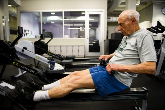 Jack Overpeck works out on a rowing machine at Furman University on Wednesday, Feb. 6, 2019.