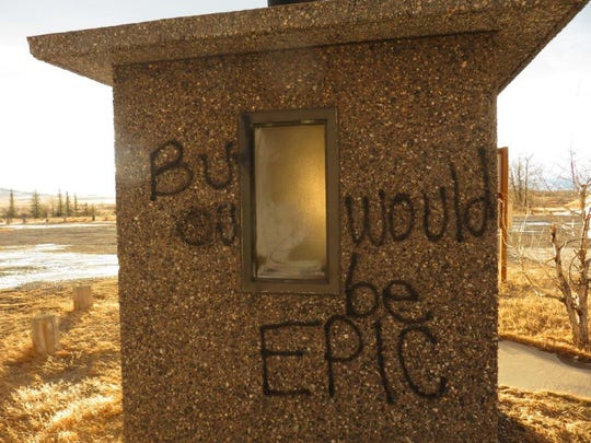 A vandalized latrine at Eureka Reservoir.