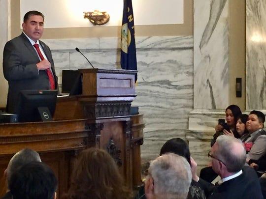 Andrew Werk Jr., president of the Fort Belknap Indian Community, speaks Feb. 7, 2019, to the Montana state Legislature.