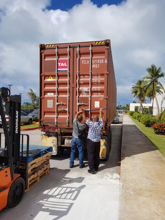 A container filled with medical supplies from MedShare arrives at the Commonwealth Healthcare Corp. in Saipan on Feb. 5, 2019.