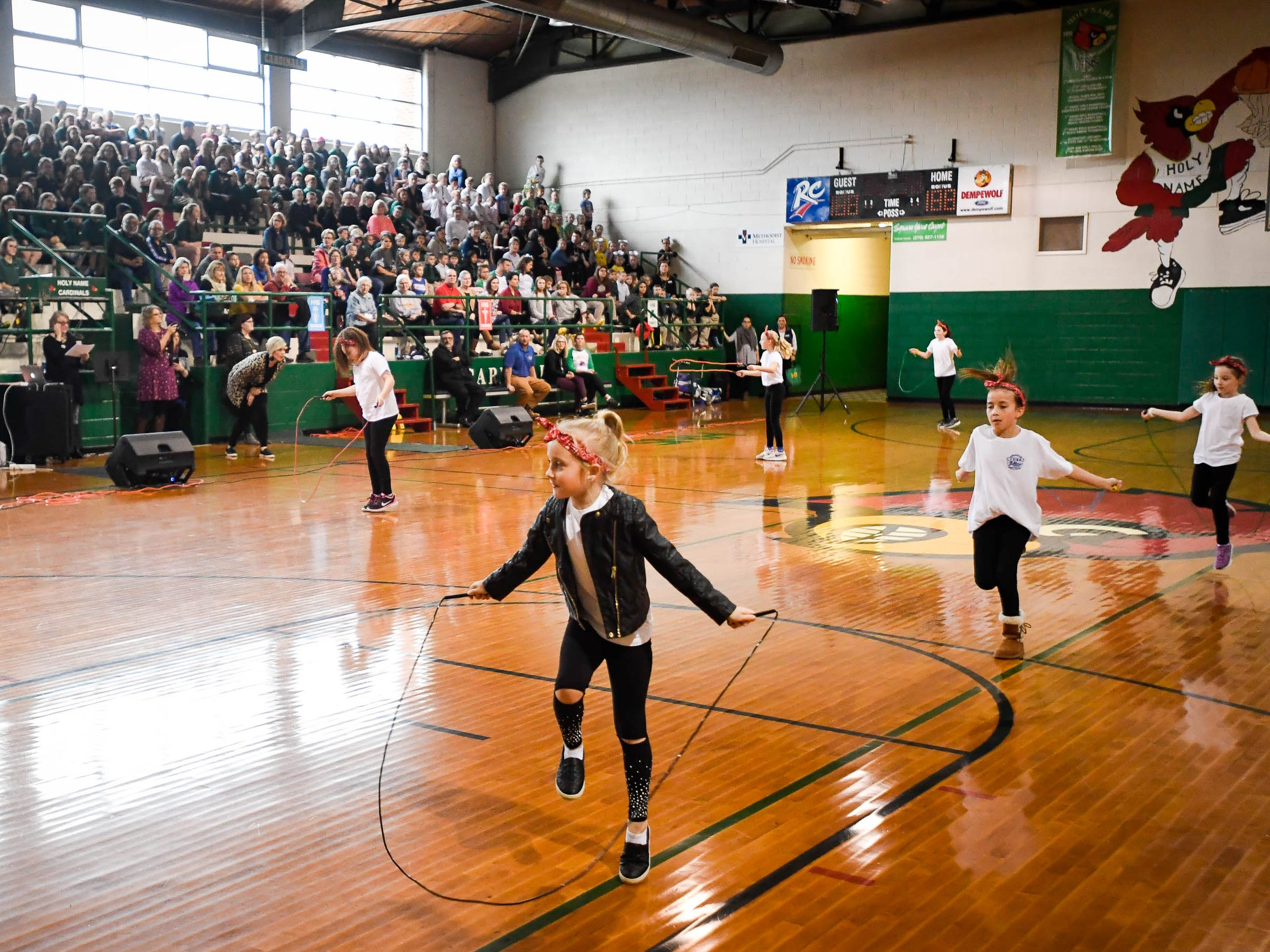 Jump rope skills on display during the Catholic Schools Week Talent Show at Henderson's Holy Name School Wednesday, February 6, 2019.