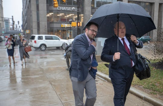 Jacob Denhollander (left), walks with lawyer John Manly, who represents 180 Larry Nassar survivors, at an appearance at U.S. Bankruptcy Court, Birch Bayh Federal Building, Indianapolis, Thursday, Feb. 7, 2019. They are at the hearing involving USA Gymnastics CFO Scott Shollenbarger, representing the organization that has sought bankruptcy protection in the aftermath of disgraced former doctor Larry NassarÕs arrest and imprisonment.