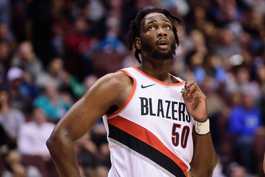 Sep 29, 2018; Vancouver, British Columbia, CAN; Portland Trail Blazers forward Caleb Swanigan (50) awaits the start of play against the Toronto Raptors during the first half at Rogers Arena.
