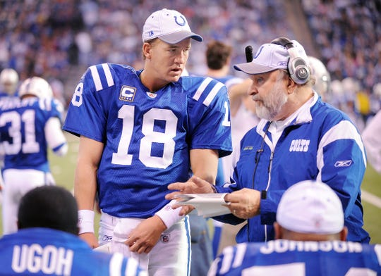 Indianapolis Colts quarterback Peyton Manning, left, talked with offensive line coach Howard Mudd,right, during a game at Lucas Oil Stadium.