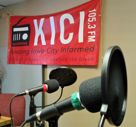 One small room with microphones and broadcasting equipment forms the studio for KICI Radio in Iowa City, a new, non-profit, all-volunteer, low-power community radio project.