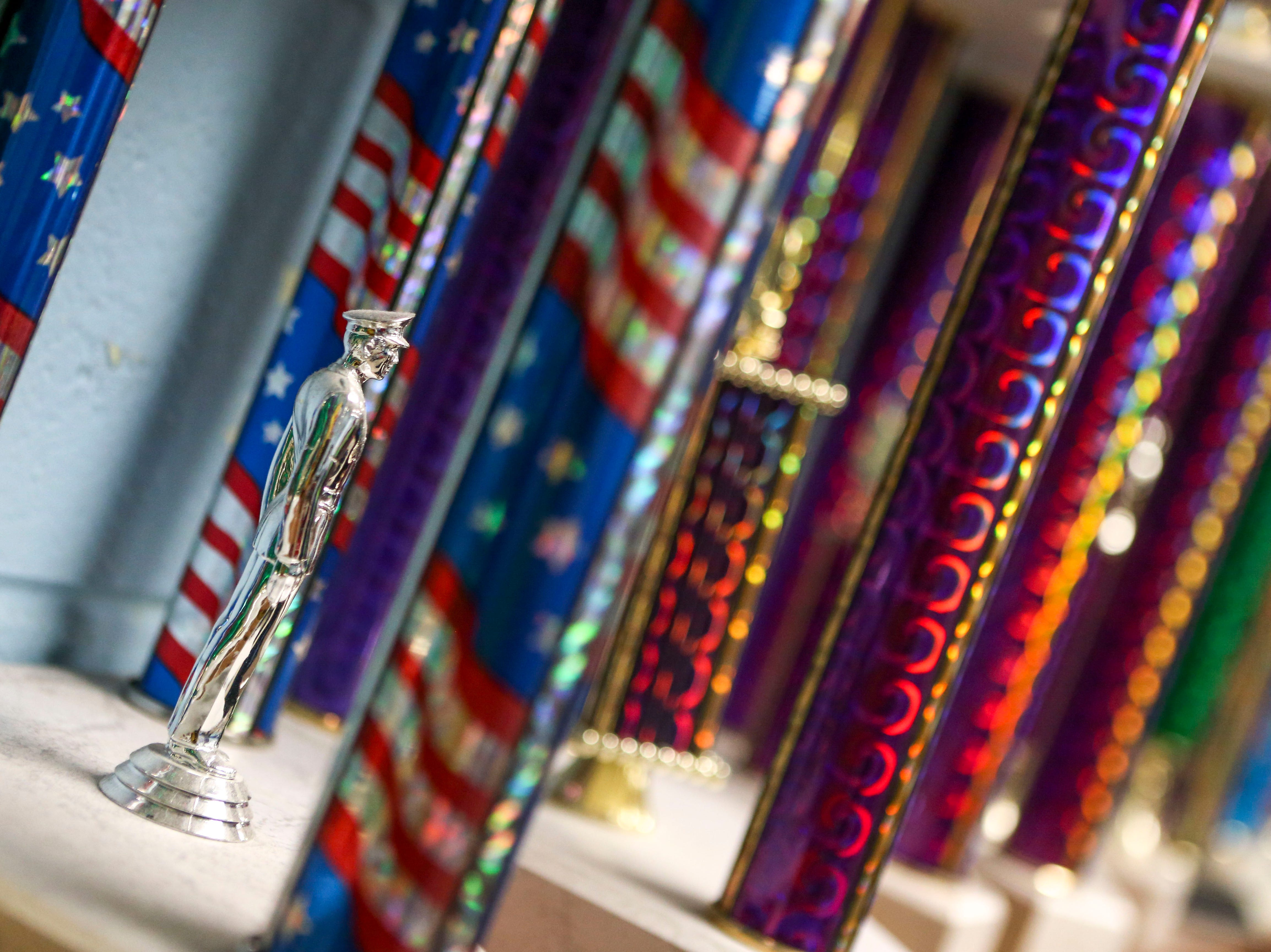 Trophies and awards line the shelves of the classroom during ROTC class at Lexington High School in Lexington, Tenn., on Wednesday, Feb. 6, 2019.