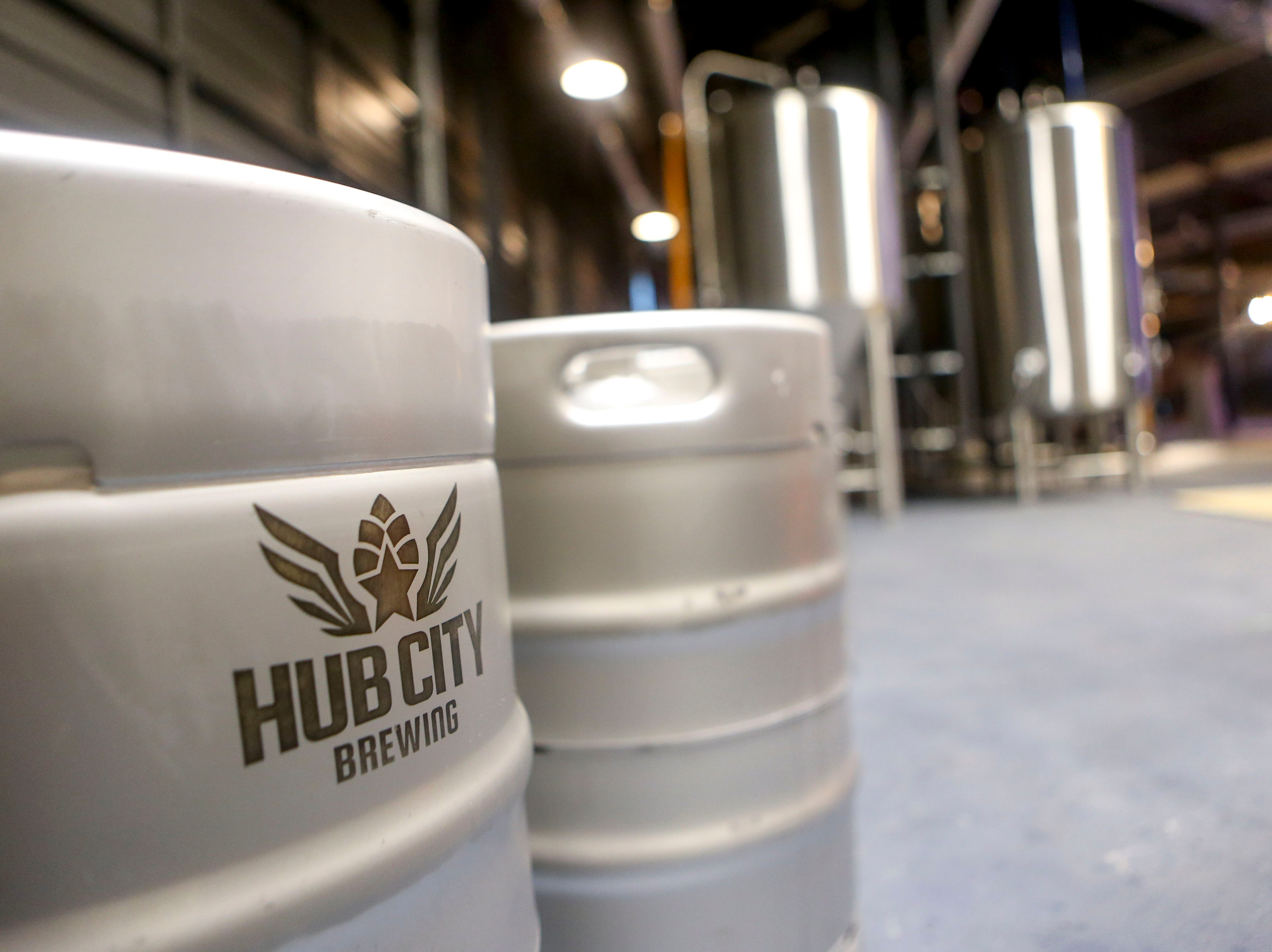 A keg with the brewery's logo can be seen in the brewing area in the back at Hub City Brewing in Jackson, Tenn., on Wednesday, Feb. 6, 2019.