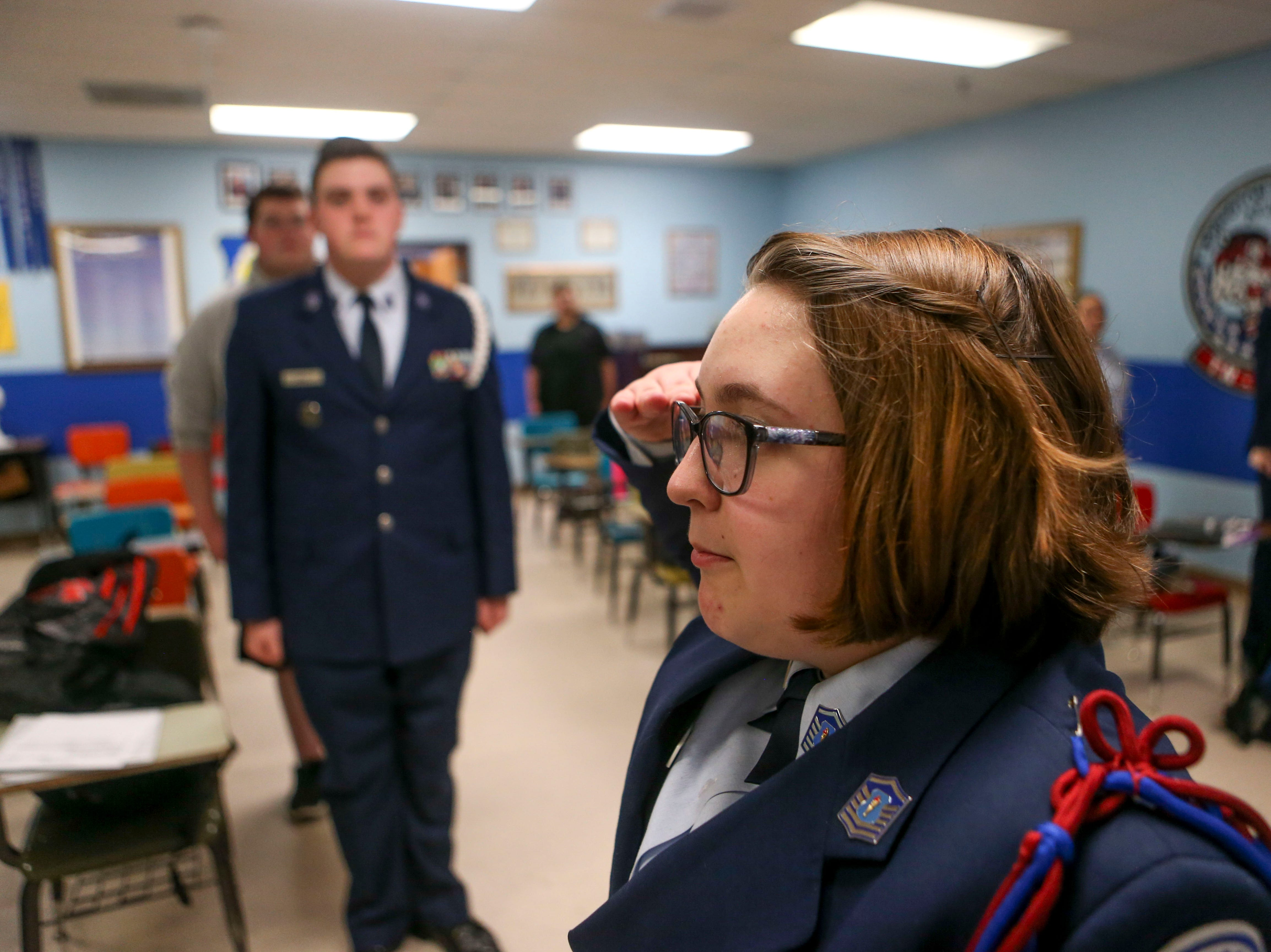 Leloni Hutchinson, 15, a sophomore, calls the class to attention before dismissing at the bell during ROTC class at Lexington High School in Lexington, Tenn., on Wednesday, Feb. 6, 2019.