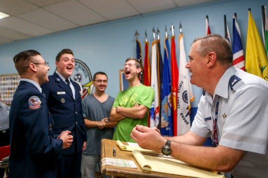 Captain Ken Sullivan chats and jokes around with ROTC students during ROTC class at Lexington High School in Lexington, Tenn., on Wednesday, Feb. 6, 2019.